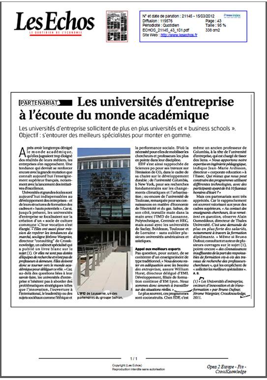 Les Echos - Université Entreprise et Monde Académique